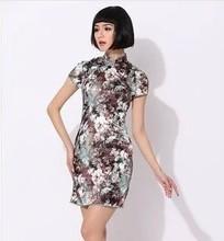 National wind style retro Chinese style dress Printed short elasticity cheongsam dress