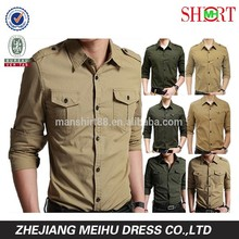 2015 Mens designer shirt Fashion Army Shirts high quality Military Casual shirts