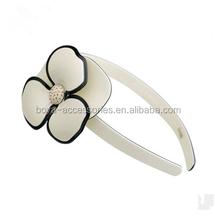 Korea hair accessories black side white flower jewelled headband