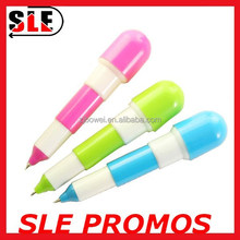 Mini plastic pill shaped retarctable ballpoint pen