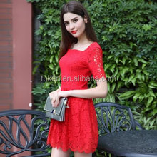 Korean dresses new fashion free prom dress lace knee length dress with cap sleeves