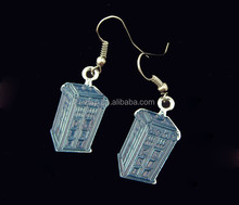 Doctor Who thing of the day TARDIS planiform dangle earrings