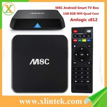 2015 newest amlogic s812 quad core m8c android tv box 1gb ddr3 ram 8gb flash support youtube facebook skype