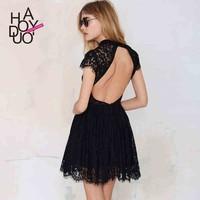 2015 women fashion waisted dress slim draped dress sexy backless dress for wholesale haoduoyi