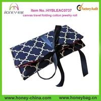 Wholesale beautiful lady cotton folding travel canvas jewelry bag