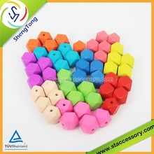 high quality geometric non toxic wooden beads