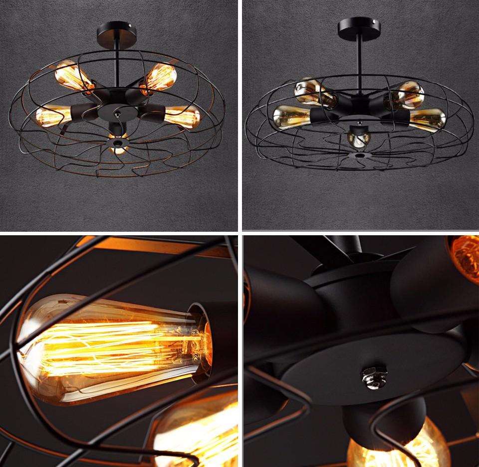 Retro metal black 5 light wrought iron black fan semi flush mount ceiling light ebay - Black iron ceiling fan ...
