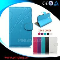 factory price folio leather flip case for samsung wave 3