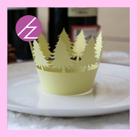 paper craft Christmas tree decoration laser cut pearl paper cupcake wrapper DG-16