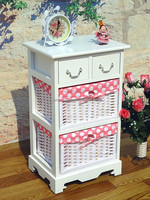 Country style Chic office supplies ,files,newspaper storage woven baskets drawer cabinet