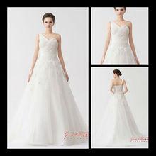 Alta calidad de un hombro encaje cariño una línea appliqued vestido de novia de tul 2013 hecho en China tb011