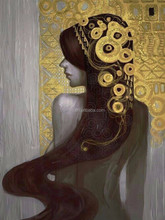 China Top Oil Painting Supplier Handmade High Quality 100% Reproduction Famous Gustav Klimt Gold Leaf Oil Painting On Canvas
