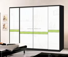 ห้องนอนตู้เสื้อผ้าการออกแบบแก้วทาสีตู้เสื้อผ้าบานเลื่อนอุปกรณ์ประตู