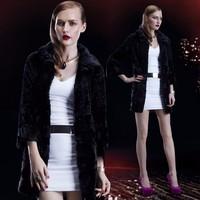 Lapel Collar Long Women Black Natural Mink Coat made in China