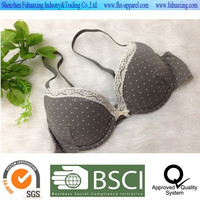 2015 hot sell full cotton elastane Spot print cotton padd push up bra, lace neckline lingerie/intimate/underwear