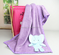 Cute Elephant Super Soft Polyester Flannel Baby Blankets