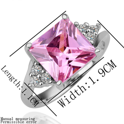 pink square CZ gems rings fashion jewelry silicone wedding ring