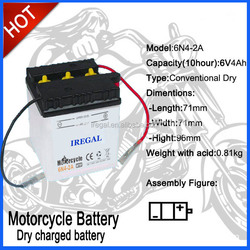 CE Powerful Lead-acid 6V4Ah Motorcycle Battery Dry Charged Battery