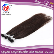 2015 New Products Top grade Best Selling Natural Straight Black Brazilian Hair Nail Tip Human Hair Extention