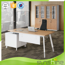 Antique Solid Wood Steel Base Desk Executive Office Furniture Modern Table Design For Boss Office