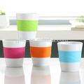 170cc Reutilizable tazas café cerámica con banda colorida de silicona
