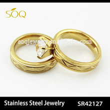 SR42127 fashion 18k gold plated stainless steel wedding ring