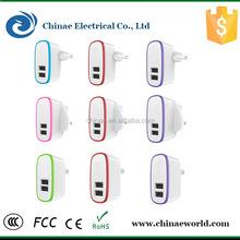 UK/USA/EU plug colorful mobile phone 2USB 2.1A charger fast shipment
