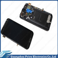 China manufacturer lcd assembly for samsung galaxy note 2 n7100 display digitizer lcd touch screen with frame