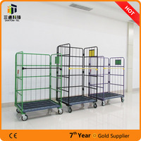 powder coat roll container with plastic bottom,colorful warehouse cart