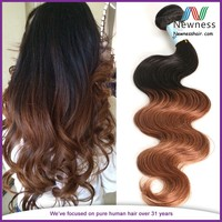 outstanding 6A cheap aliexpress 100% no tangle,no shedding ombre Hair weave two color