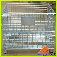 china supplier heavy duty basket trolley,collapsible container, wire mesh storage baskets