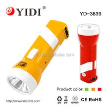 Plastic European 2 pin plug led torch rechargeable flashlight 220v