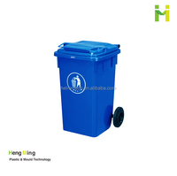 100L plastic wheeled recycling trash can waste bin with Lid for Sale