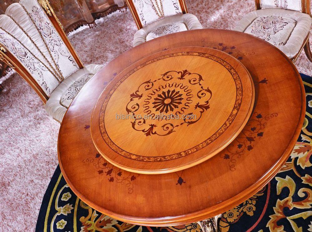 Francés muebles de comedor clasicos/mesa comedor de madera redonda ...