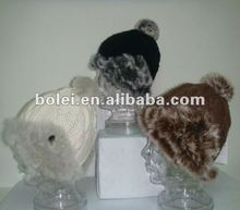 2012 real rabbit fur custom beanies with pom