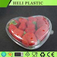 High clear heart shape disposable strawberry plastic container 125g, 250g