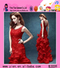 2015 fashion Europe market hot sale party dress elegant sleeveless fishtail red evening dress for ladies