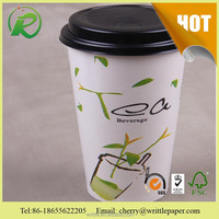 green paper tea cup pattern for hot wholesale