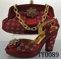 Vestido sapatos e bolsas correspondentes 10 cm sapatos de salto alto mais recente calçados femininos de salto alto TY0089 vinho