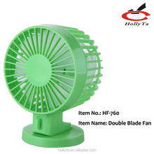 Portable Ultra-Quiet USB Powered Adjustable Double Blades Mini Desk Fan Cooling Fan for PC Laptop Notebook