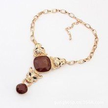 2015 pairs of high-end European and American fashion leopard head necklace