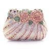2015 Beautiful Metal Rose Flower Crystal Rhinestone Diamond Bride Clutch Bag