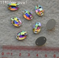 11x16mm Oval Flatback rhinestone Sew on stone holes crystal AB color Silver base sew on crystal rhinestone button beads
