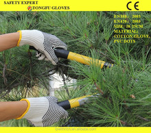 white cotton working gloves palm PVC dotted one side or 2 sides pvc dots