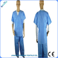 CE certificate 1pc/bag packing hospital disposable uniform scrubs