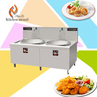 40KW 380V double wok stove CE approve free standing stainless steel induction stove wok cooker for hotel restaurant