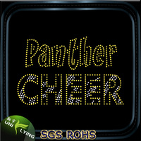 Gold letters panther cheer clothing rhinestone stickers