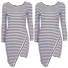 m05130 caliente para damas venta asimétricos parte inferior manga larga vestido de rayas