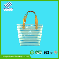 2015 new product clear shopping bag, PVC cheap white plastic bags with handles
