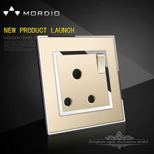 2015 Newest Top Quality Electric PC Organic glass push button 15A 250V 1 gang wall switch socket with neon